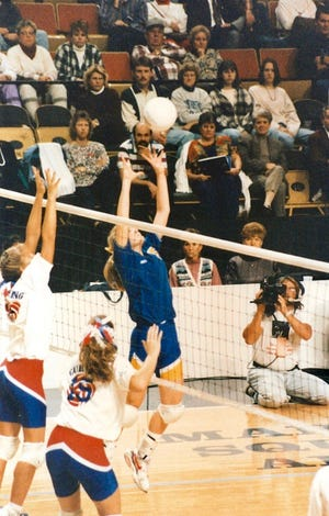 Emily Bainter, formerly Emily Sallee, won two state titles (1993 and 1994) playing volleyball in high school at Burris. She then went on to play in college at Ball State.