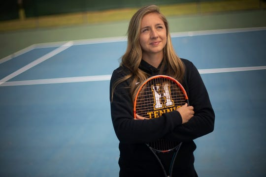 Hendersonville High School tennis player Lucy Sims lost her senior season of tennis because high school spring sports were canceled because of the coronavirus COVID-19 outbreak. photographed at Memorial Park Saturday, April 18, 2020 in Hendersonville , Tenn.