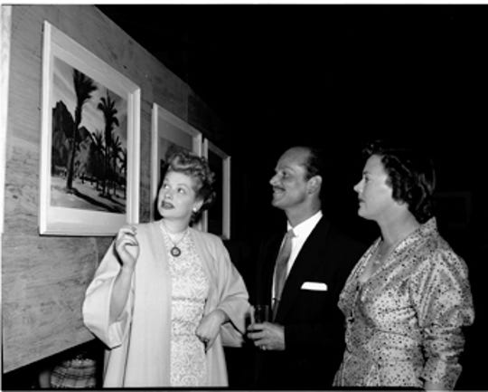 Lucille Ball, Earl Cordrey, and Barbara Hinkle at a Cordrey gallery show.