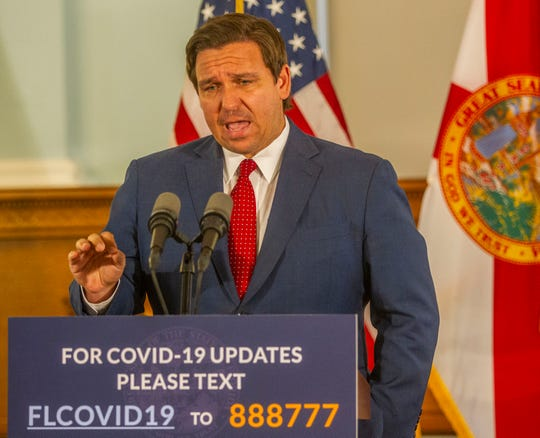 Gov. Ron DeSantis holds a press conference in the Historic Capitol to share update on coronavirus in Florida as well as announce that schools with continue distance learning for the remainder of the school year, Saturday, April 18, 2020.