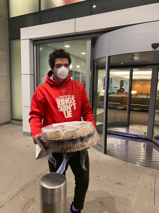 John Prince of Valhalla delivering food to White Plains Hospital. He and his two friends have started a GoFundMe to help raise money for meals for those on the front lines, starting at 10 p.m.