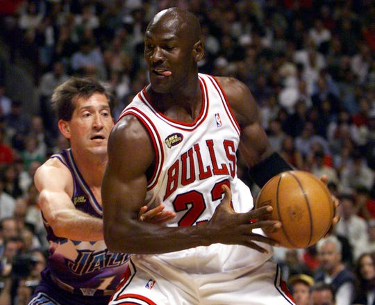 Jordan and the Bulls faced off against Jeff Hornacek and the Jazz in a rematch of the previous year's NBA Finals.