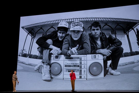 "Adam Horovitz, left,  and Michael Diamond recount their history and memories of late bandmate Adam Yauch in ""Beastie Boys Story."""