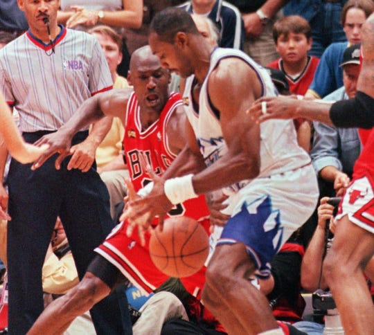 The teams went back and forth for much of Game 6 until the final seconds when Jordan authored one of the most memorable sequences in NBA history. It started on the defensive end with a steal on Jazz star Karl Malone.