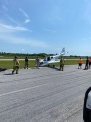 Brevard County Fire Rescue crews respond to plane that skidded off a Merritt Island Airport runway.
