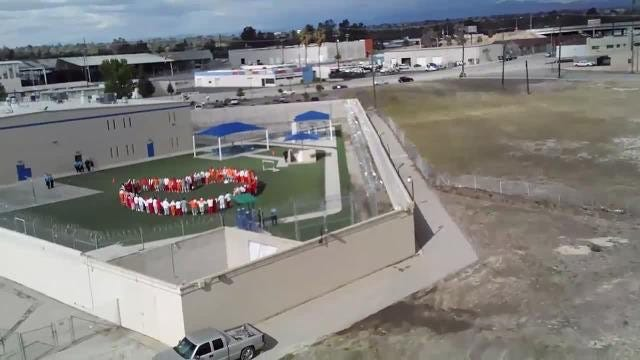 Hunger strikers at Mesa Verde ICE Processing Center in Bakersfield were photographed by a drone April 10.