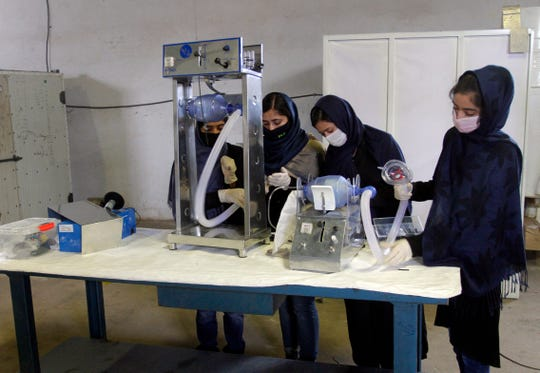 A group of young girls are developing two types of cheap ventilator devices using Toyota car spare parts to help the fight against the coronavirus pandemic in Herat, west of Kabul, Afghanistan. Afghanistan faces the pandemic nearly empty-handed. It has only 400 ventilators for a population of more than 30 million. So far, it has reported just over 700 coronavirus cases, including 23 deaths, but the actual number is suspected to be much higher since test kits are in short supply.
