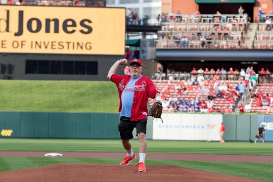 Walt Ferber throws out the first pitch before a Cardinals-Cubs game in July 2019 at Busch Stadium in St. Louis.