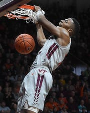 Former Virginia Tech Hokies wing Landers Nolley II (2) dunks against Boston College during a game last season. Nolley announced Monday he is transferring to Memphis.