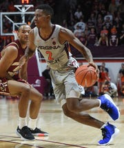Former Virginia Tech Hokies guard/forward Landers Nolley II (2) drives to the basket past Boston College Eagles forward Steffon Mitchell (41) in overtime at Cassell Coliseum.