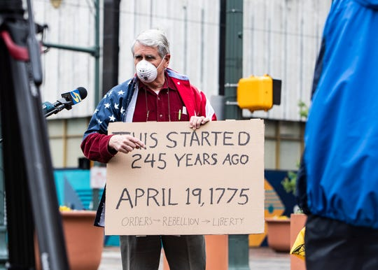 "HAL Rounds attends the ""Memphis Freedom Rally"" in violation of Mayor Jim Strickland's safer-at-home order during the coronavirus pandemic at City Hall in downtown Memphis,Tenn., on Sunday, April 19, 2020."