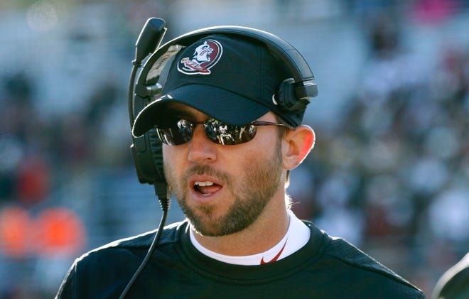 Florida State offensive coordinator Kendal Briles works on the sideline in the second half against Boston College on Nov. 9, 2019, in Boston.