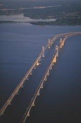 An aerial view of Maryland's Chesapeake Bay Bridge.