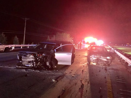A crash Saturday night closed all south lanes of I-495 in the Claymont area.