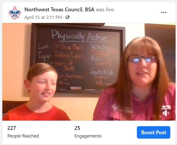 Megan Sila, Northwest Texas BSA district executive conducts Facebook Live follow-along Scouting activities with her son, Wyatt.