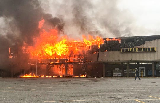 A fire at Marketplace Shopping Center on Clemson Boulevard in Anderson on Sunday, April 19, 2020. The Bureau of Alcohol, Tobacco, Firearms & Explosives national response team is investigating Monday, a day after a U.S. Post Office and several businesses were damaged from the fire.