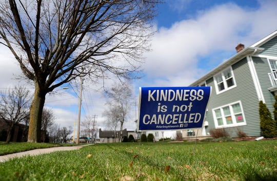 A yard sign reminding people to be kind was posted at a Kimberly residence in mid-April.
