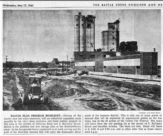 "A photo in the May 17, 1961 edition of the Battle Creek Enquirer and News shows industrial expansion around the Ralston Purina Co. plant on McCamly Street South. The facility expanded as part of a ""slum clearance"" project in the former Bottoms neighborhood."