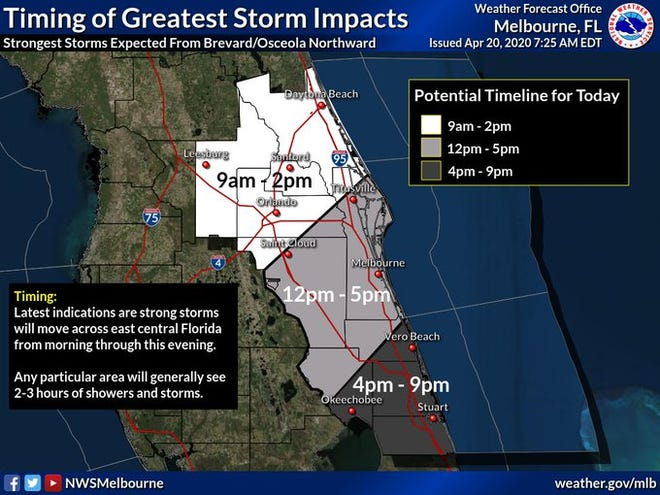 Severe storms will be possible across Brevard County Monday bringing 60 mph wind gusts and possible hail.