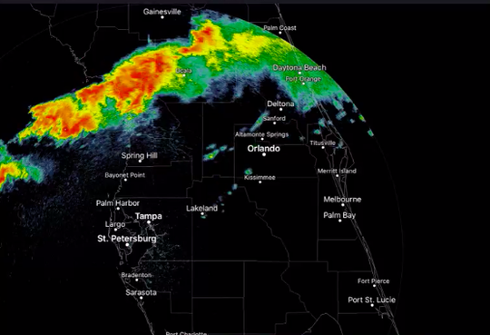 A severe thunderstorm watch was issued Monday for the Space Coast as a large weather system moved eastward across the state bringing rains and heavy winds.