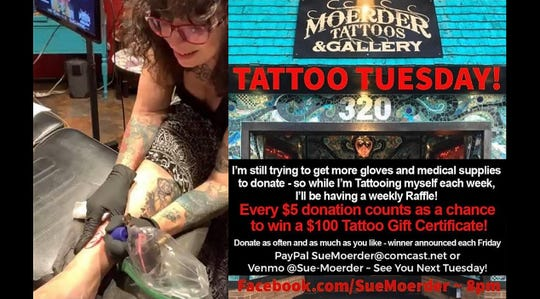 Sue Moerder, owner of Moerder Tattoos and Gallery, gives herself a tattoo live on Facebook to raise funds for personal protective equipment for healthcare professionals.
