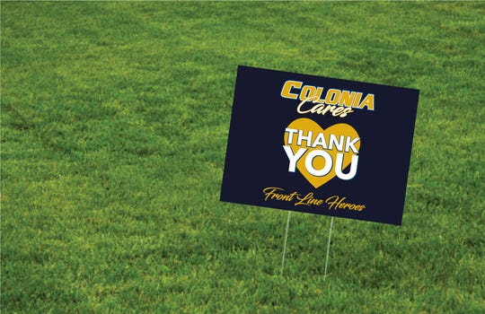 Colonia Cares lawn sign