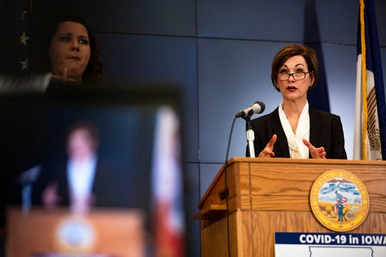 Iowa Gov. Kim Reynolds holds a news conference on COVID-19 at the State Emergency Operations Center in Johnston, IA, on Monday, April 20, 2020. Reynolds announced new steps the state is taking to mitigate COVID-19 outbreaks in long-term care facilities, meatpacking plants and state prisons as their numbers continue to rise.