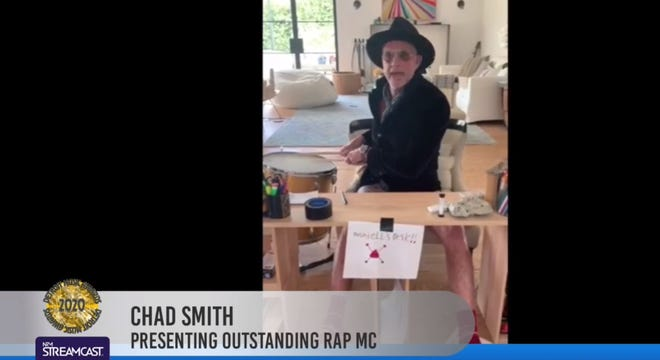 Chad Smith of the Red Hot Chili Peppers appears on the Detroit Music Awards' quarantine stream on April 19, 2020.