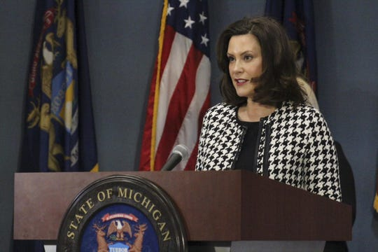 Governor Gretchen Whitmer gives an update on COVID-19 during a press conference on April 20, 2020.