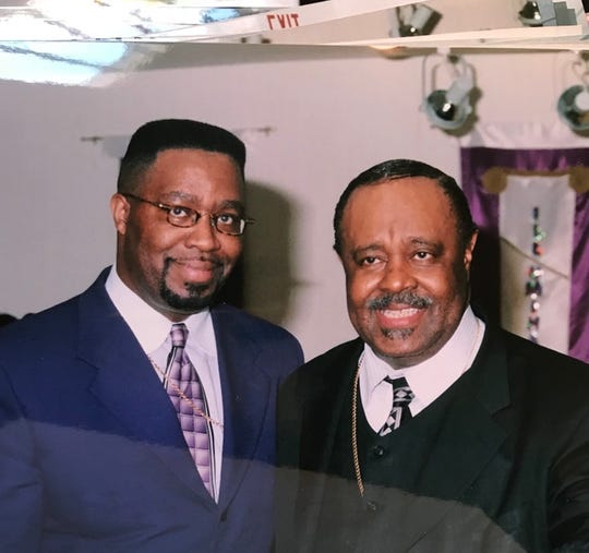 Bishop James A. Williams II (left) and Bishop C.L. Morton Jr. (right) at William II's third pastoral anniversary in 2000.