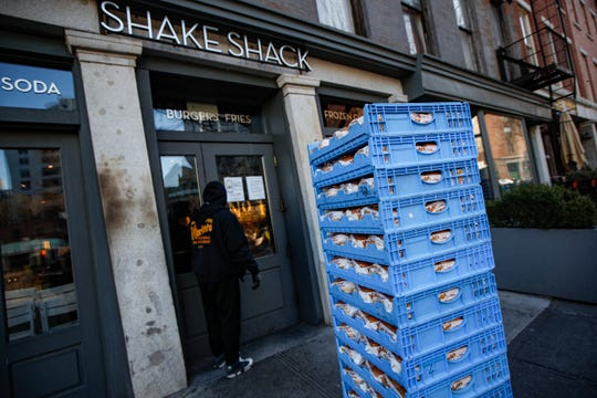 A bread delivery is made to a Shake Shack restaurant in the Brooklyn borough of New York. on March 16, 2020.