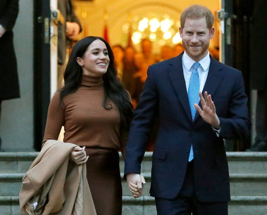 Britain's Prince Harry and Meghan, Duchess of Sussex leave after visiting Canada House in London on Jan. 7, 2020.
