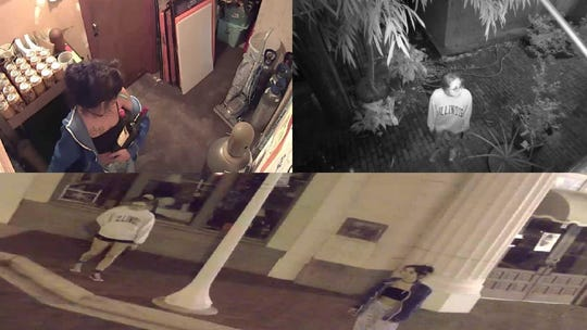 Fort Myers police are trying to identify the two individuals seen here. The pair allegedly broke into a downtown business early Wednesday morning