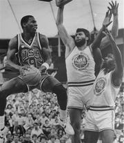 Steve Alford, Michael Jordan (pictured) and the rest of the 1984 U.S.Olympic team warned up for the tournament with a series of games against groups of NBA players.