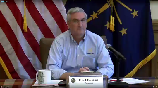A local media buyer estimates the exposure of Gov. Eric Holcomb's daily press briefings on the coronavirus pandemic to be worth $134,000 a week. The briefings are streamed online and broadcast across a number of TV stations across the state.