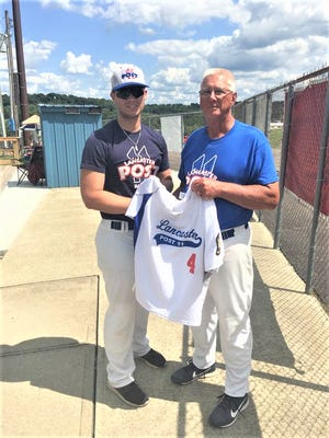 Al Beavers, who coached the Post 11 American Legion baseball team for 24 seasons and recently came out of retirement to coach two more seasons before giving it up for good in 2018, recently passed down his jersey No. 4 to his grandson, Tyler Sisson, who is now coaching Post 11. Beavers, who at one point led Post 11 to 14 consecutive American Legion state tournaments. His love for baseball led him to build Beavers Field 30 years ago. It has hosted high school and college games during that time and has been a part of the fabric of the for the City of Lancaster during spring and summer months.