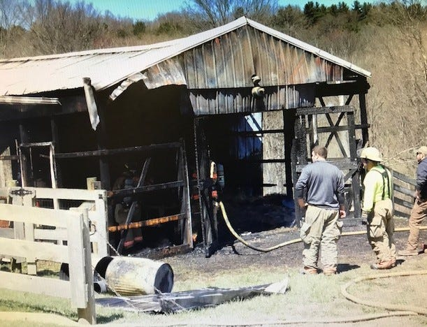 Bellville-Jefferson Township fire Chief Zach Carlin said no animals or equipment was lost during a barn fire at 621 Rhinehart Road Monday morning. Washington Township Fire Department also responded to the small barn fire. Cause of the fire remains under investigation. Lou Whitmire/News Journal