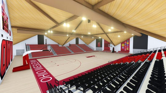 This is an artist rendering by Little Diversified Architectural Consulting of how Ohio Wesleyan's Branch Rickey Arena will look next academic year.