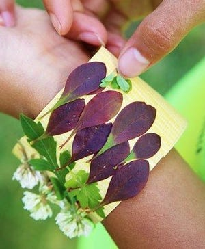 There are nature-themed crafts and activities on the Boerner Botanical Gardens webpage, including a nature bracelet tutorial.