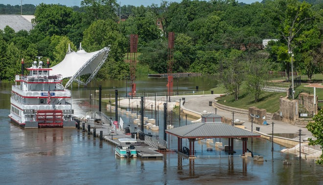 Montgomery's Riverfront Park is flooded over Monday, April 20, 2020, after heavy rains Sunday night. The park had already been closed for about two months due to flooding and damage, and is set to reopen soon.