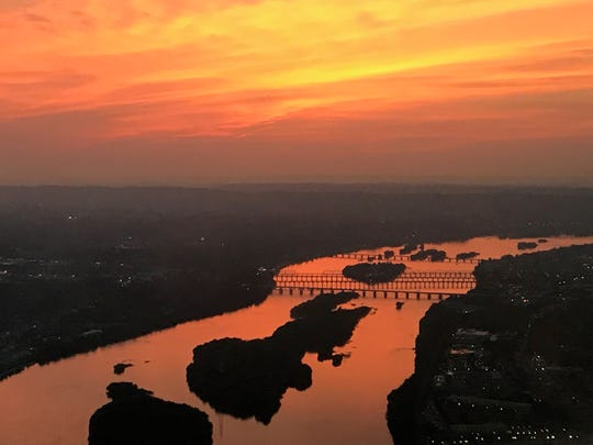 A aerial photo of a the sunset over Philadelphia.