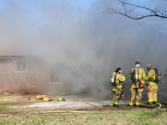 The Brentwood fire department used a home donated by builder Doug Majors for a controlled burn training. The house was prepped first by the builder for safety and health precautions.