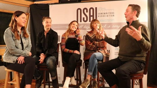 From left: Hillary Lindsey, Josh Kear, Naomi Cooke and Hannah Mulholland talk to Bart Herbison about songwriting.