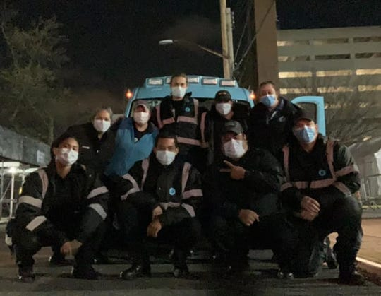 Hollye Anglin, a Dickson resident, and her EMT team in New York City in recent weeks.