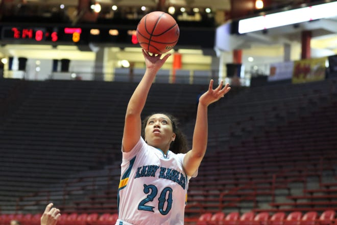 Navajo Prep's Aiona Johnson, seen here playing against Tohatchi in the 3A state girls basketball finals on Friday, March 13, 2020, at Dreamstyle Arena in Albuquerque, was named the Daily Times 2019-2020 female Athlete of the Year. Johnson was named to the All-State Second Team in volleyball, followed the the All-State First Team in basketball.