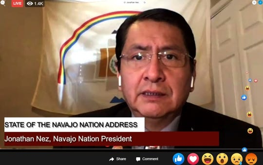 A screenshot shows Navajo Nation President Jonathan Nez presenting the State of the Nation address in a live stream on Facebook on April 20, 2020.