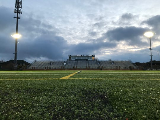 Novi High School turns its football field lights on for 20 minutes each night.