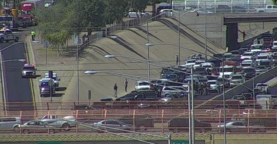 Interstate 17 southbound lanes are closed due to a law-enforcement situation near Grant Street in Phoenix on April 20, 2020.