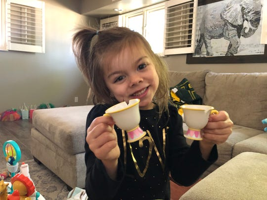 There's no explaining social distancing to a 4-year-old. I had tea with Willow while my cousin Kasey was at work. It was safer for me to go to their house than for Kasey to take the kids to work with her.