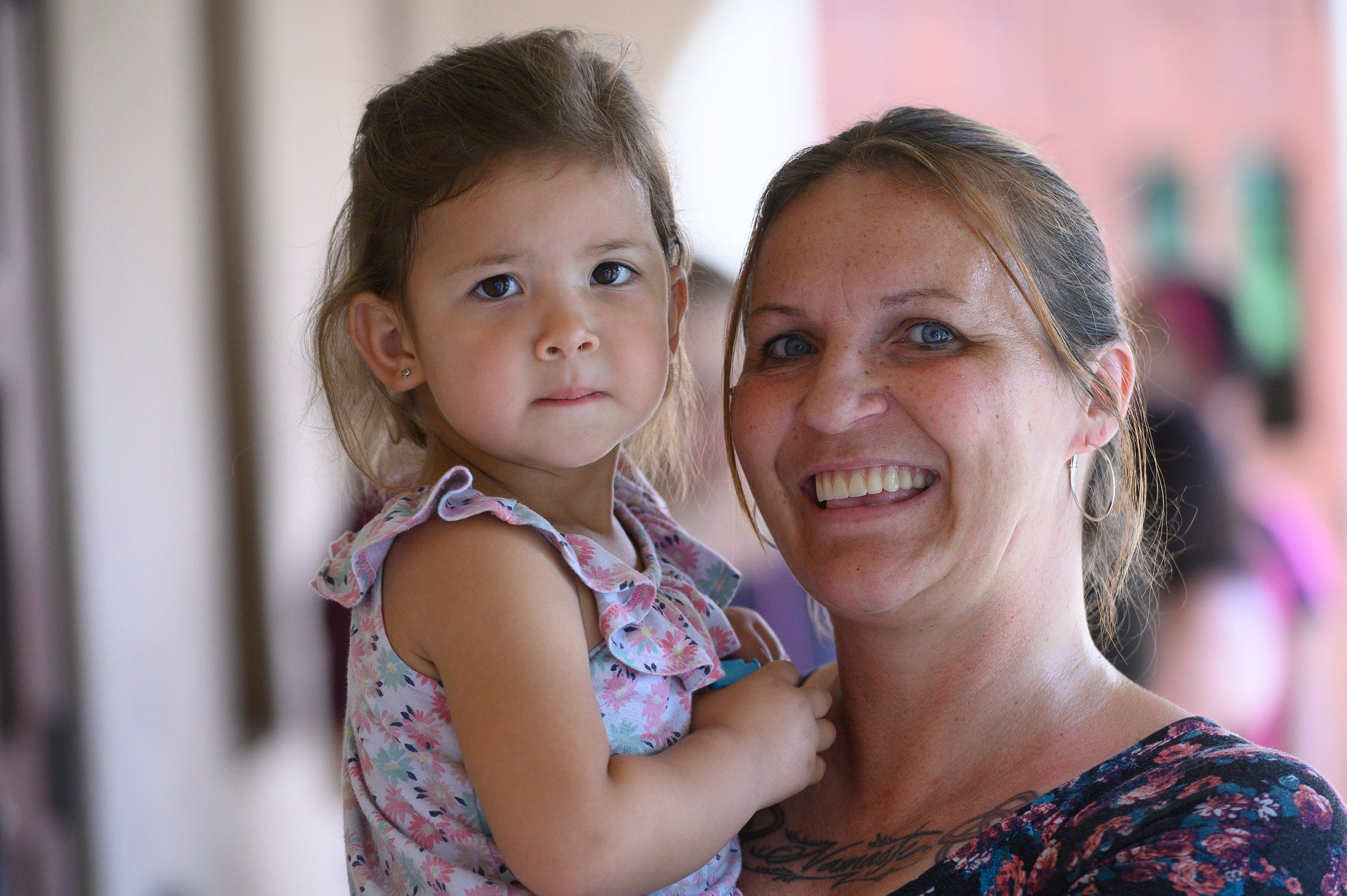 Rebecca Legate with her 3-year-old daughter Nati.